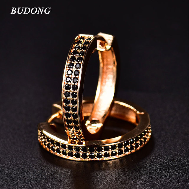 Budong 2017 Chic Clic Black Crystal Hoop Earrings For Women Aaa Cubic Zircon Simulated Stone