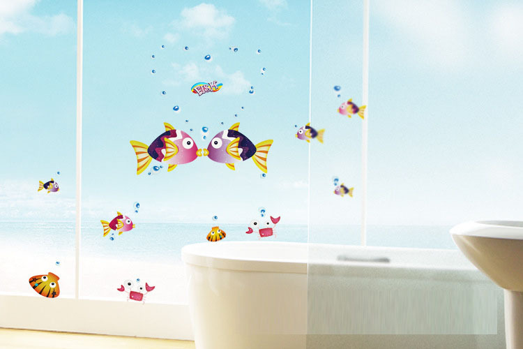 Aliexpress.com : Buy Home Decoration Wall Art Stickers,kids Nursery Loving  Gift,bathroom Glass Tiles Vinyl Wall Decals,cartoon Kiss Fishes Room Decor  From ...