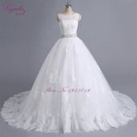 Real Photos Vintage Ball Gown Wedding Dress Lace Scoop Bridal Gown Sexy Cap Sleeve Robe De