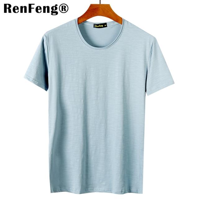 3f6cc3f2fb3d Casual t shirt men Blank Blue White Streetwear tops Funny Short sleeve t-shirt  men Bamboo Cotton tee shirt mens tshirt fashion