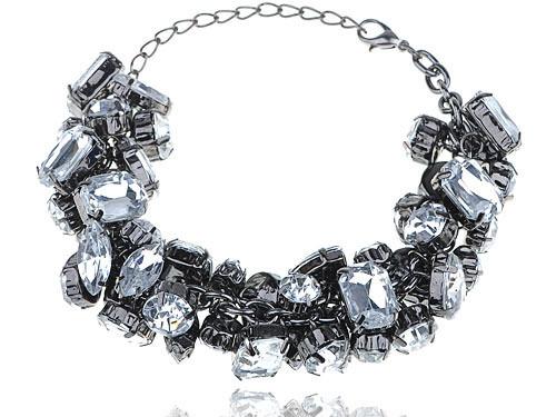 Faísca Grande de Acrílico Cristal Rhinestone Bead Chain Link Chunky Pulseira Da Moda EUA [de Ações]
