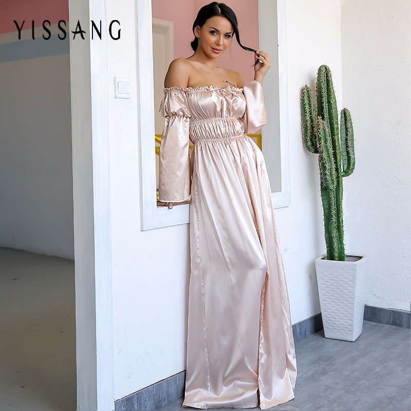Detail Feedback Questions about Yissang Off Shoulder Maxi Dress Sexy Long  Dresses Ladies High Backless Cut Out Party Night Satin Split Shift Dress  Vestidos ... 80477a9c2813