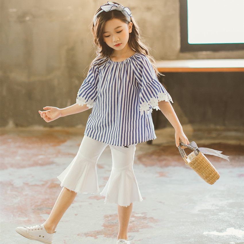 girl clothes 2 pcs sets spring summer striped blouses tops and knee length pants girls clothing sets school kids girl outfits girls tops cute pants outfit clothes newborn kids baby girl clothing sets summer off shoulder striped short sleeve 1 6t