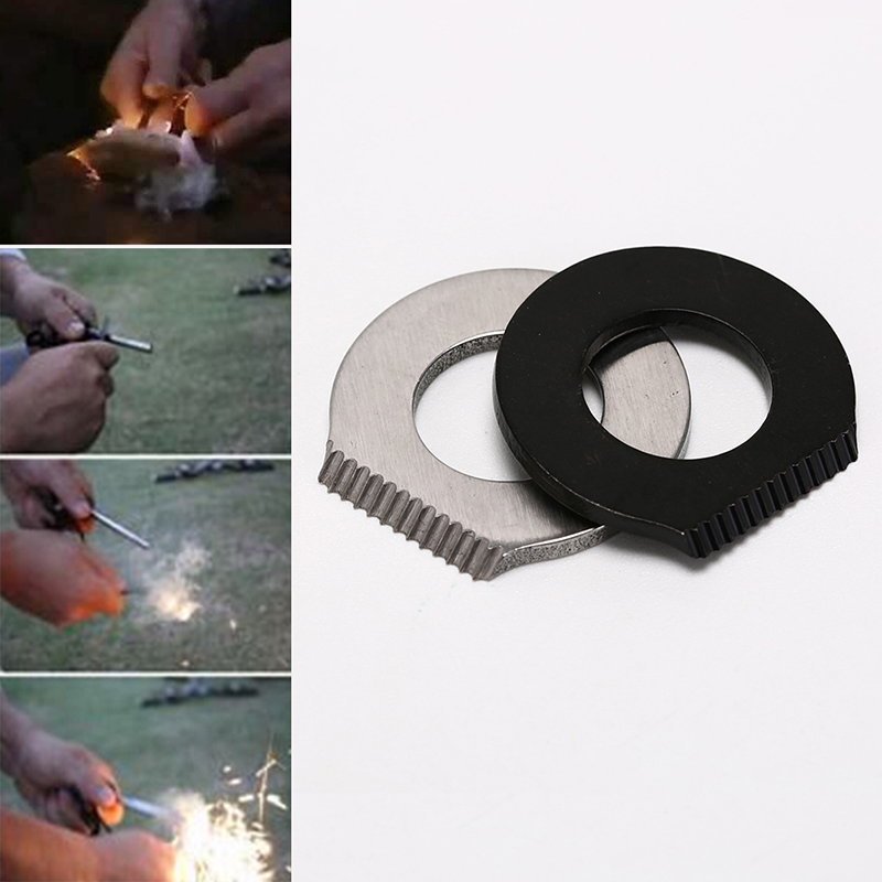 outdoor camping hiking survival magnesium flint scraper round type survival tool image