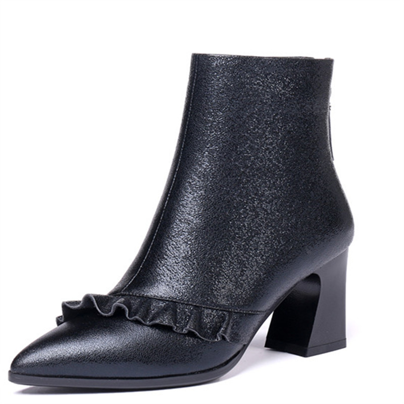 LOVEXSS женские ботильоны на платформе, осень зима мода плюс размер 34 42 ботинки martin Черный, серый цвет обувь на высоком каблуке 2018