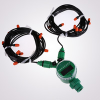 15m 4mm Hose with Micro Drip Irrigation Kit with Nozzle Sprinkler and Timer Garden Sprayers Watering System E5M1