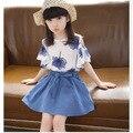 Big Kids Girls Summer Shirt +skirt Sets  2016 New Girls Skirt Suit 3-12 Ages Free Shipping