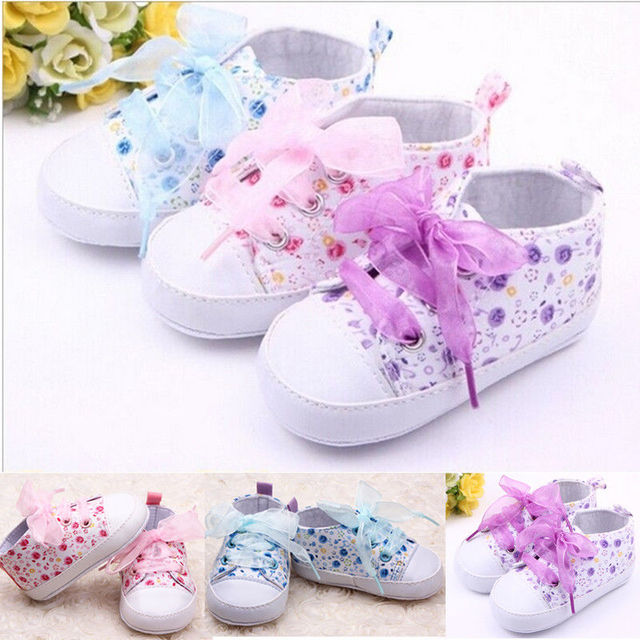 Brand NEW Newborn Baby Kid Floral Soft Sole Shoes Infant Girl Toddler Sneaker Anti-Slip Lovely Baby Crib Shoes