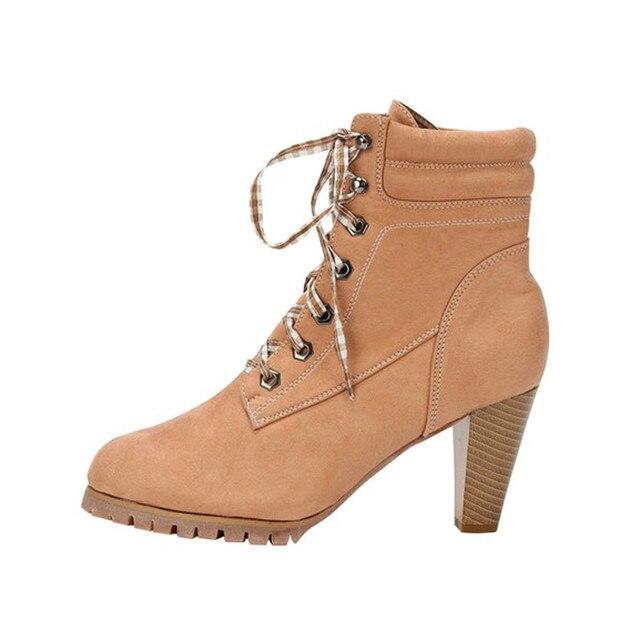 Yarım çizmeler sonbahar kış 2018 Moda Kadınlar Bandaj Cilt Yüksek Topuklu Martin Seksi Ince Çizmeler Topuklu Martin Shoesdames laarzen # g8