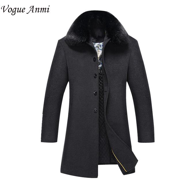 Vogue Anmi. 2017 nova chegada dos homens casaco de lã de médio-longo macho espessamento cashmere larrge outerwear trincheira inverno plus size M-3XL