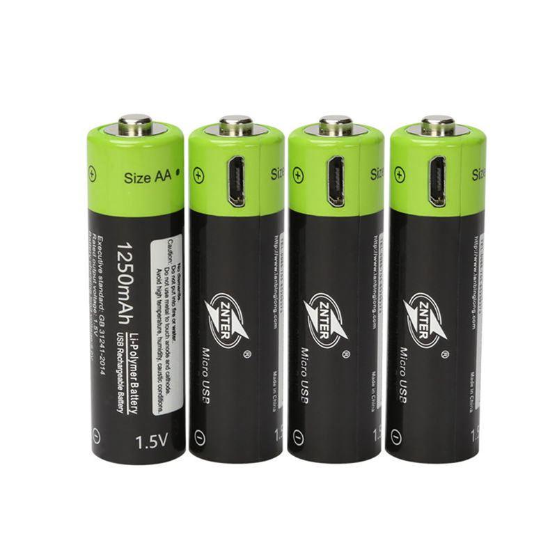 ZNTER 1.5V AA 1250mAh li-polymer Rechargeable Battery micro usb charging 1.5v batteries
