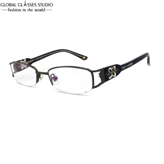 Lente oval metade aro óculos de armação de metal das mulheres de luxo sem chifres templo grande clover padrão rhinestone decoração eyewear rm00460-c3