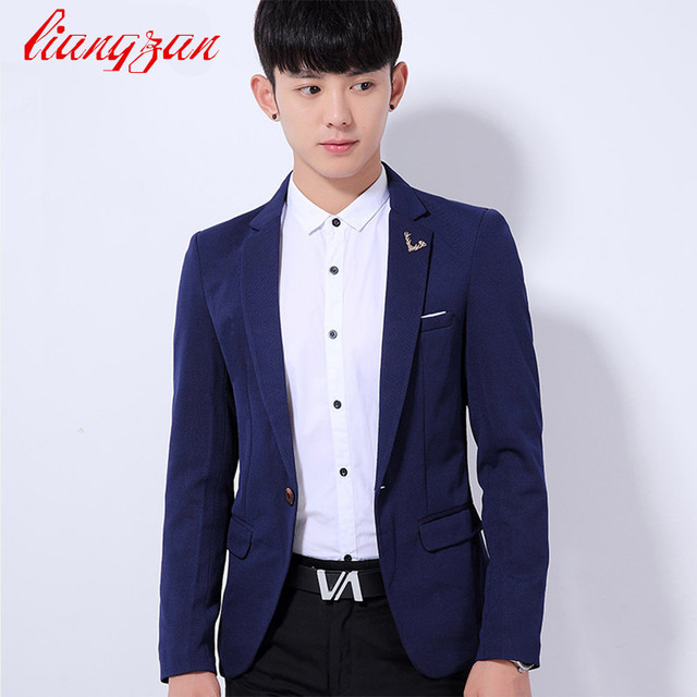 4e4a67272312 Men Suit Blazer New Brand Korean Style Top Quality Fashion Blazer Suit Male  Cotton Casual Slim