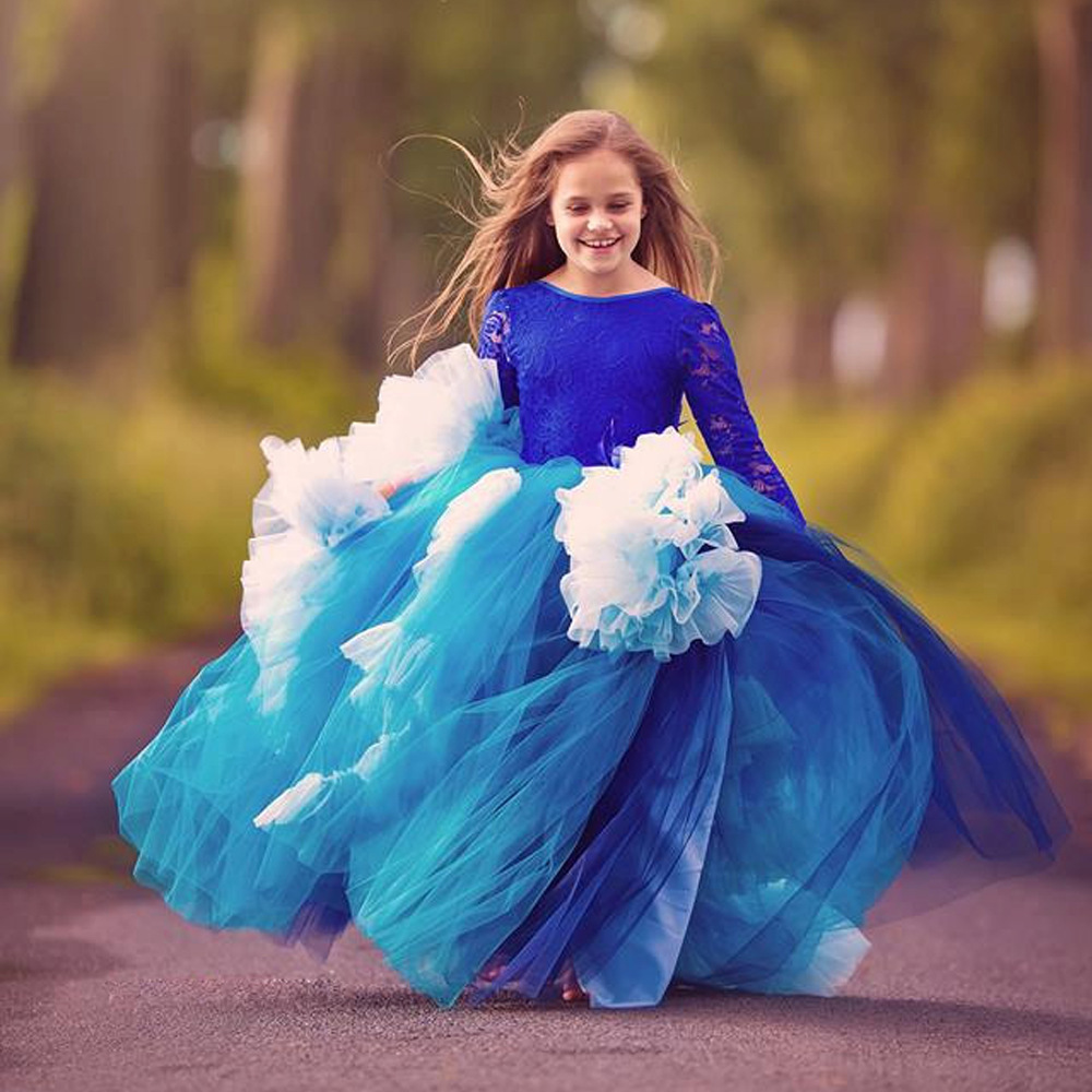 European and American New Fashion all-lace long-sleeved dancers Show girls' wedding dress Performance Girl Party Dress european and american new sequins lace sleeveless nude meal flower girl dresses show girls poncho big wedding dress