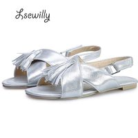 Lsewilly Low Heels Woman Sandals Tassel Four Color Peep Toe Soft Plus Size 32 48 Shoes