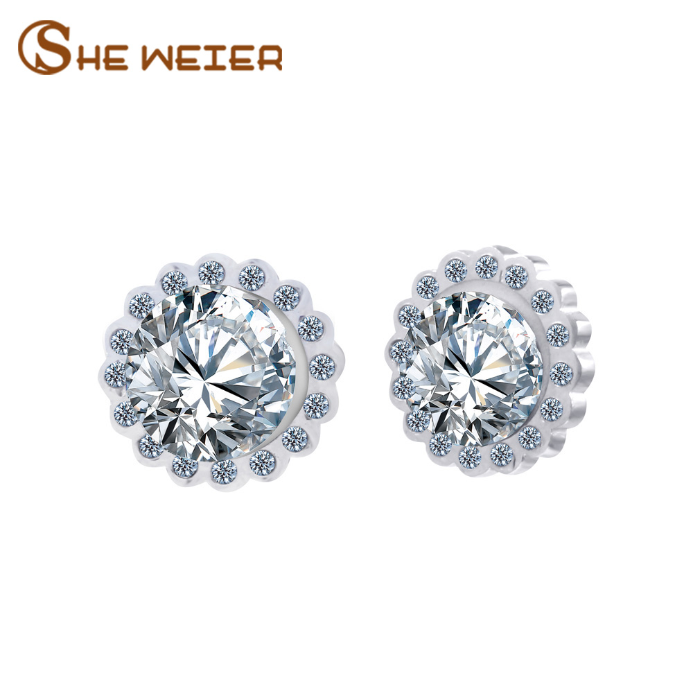SHE WEIER Stainless Steel Earrings For Women Brincos Earing Fashion Jewelry 2018 Zircon Flower Earrings Stud Ear Rings