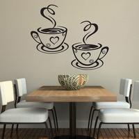 % Copos de café duplo adesivo de parede belo design copos de chá decoração do quarto decalques de parede vinil adesivos adesivos de cozinha decoração|Adesivos de parede| |  -