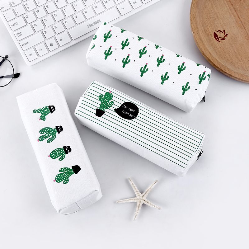 Cactus Pencil Case Canvas School Supplies Kawaii Stationery School Office Cute Pencil Box Pen Bags For Students Kids Storage Bag