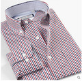 100% Cotton Male Casual Shirt Red Blue Square Patchwork Dress Long Sleeve Plaid Shirts Men wash and wear