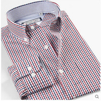 China Size XS 6XL 2015 Spring Male Casual Shirt Red Blue Square Patchwork Dress Long Sleeve