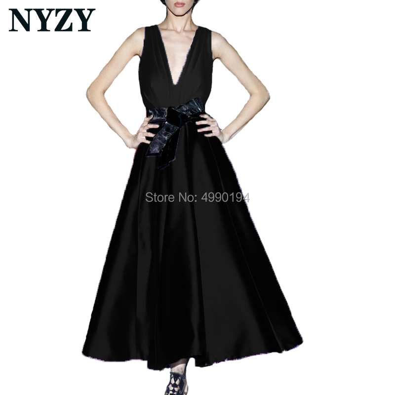 Elegant Robe De Soiree Black Cocktail Dresses 2019 NYZY C180D Satin Tea Length Party Gown Formal Dress Homecoming Graduation