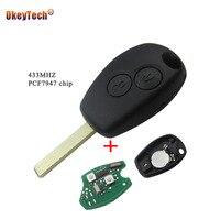 Okeytech 2ボタンリモコンキーカバーケース用ルノーダスターモデュスクリオ3トゥインゴdacia loganサンデロ433 mhz pcf7947チッ