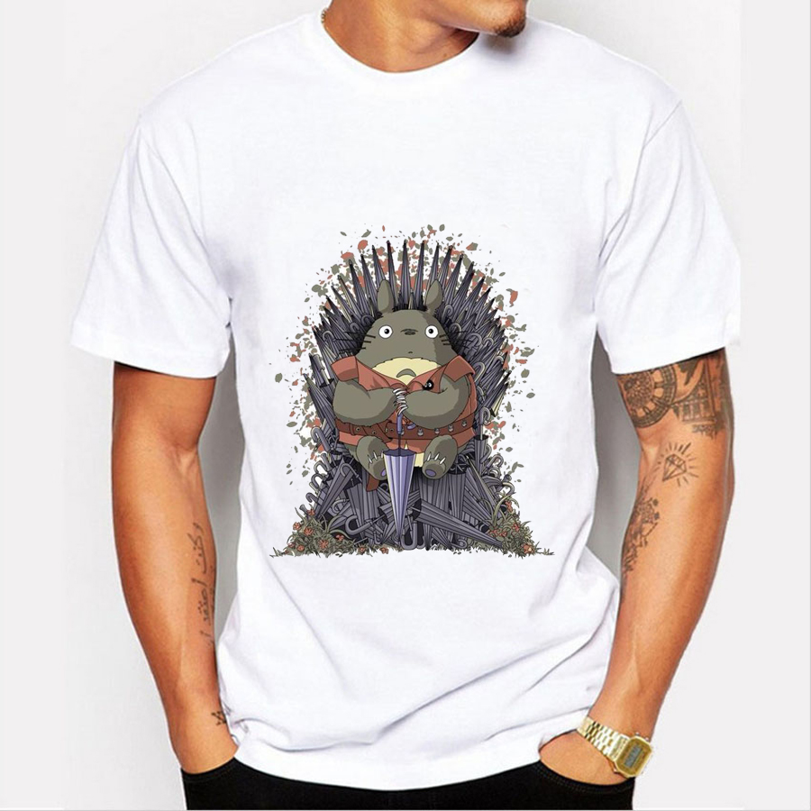 T shirt Men 2016 Fashion Game of Throne Design Tee Shirt Funny Totoro on the Trone