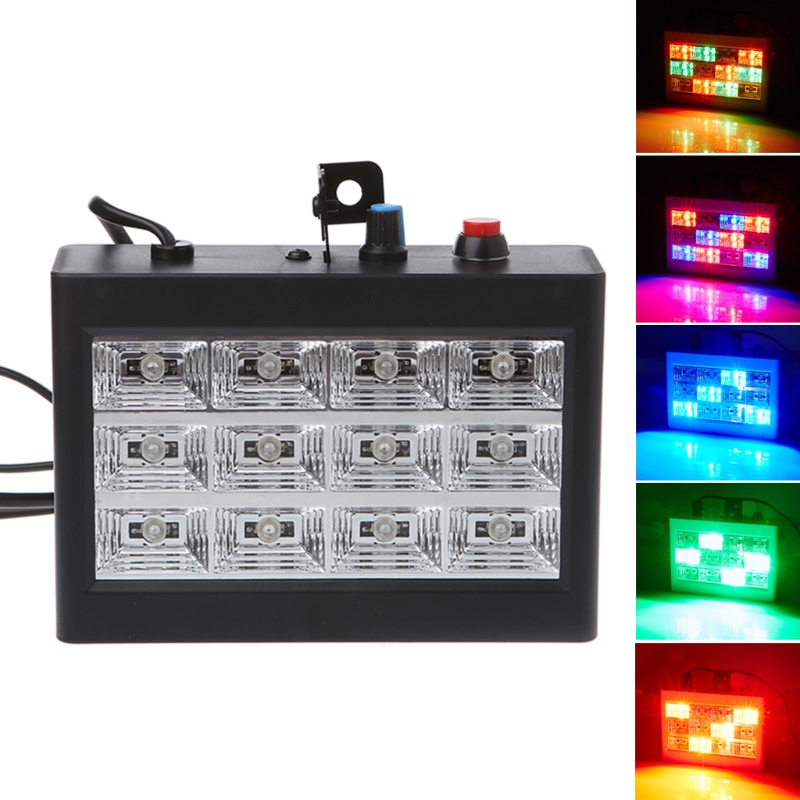 15W 12 LED Strobe RGB Stage Disco DJ Light Auto Sound Activated Adjustable Flash Speed Control L15 led par stage light dj disco with music activated auto run and dmx512 control mode different colors combinations of rgb rotating