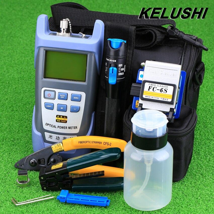 KELUSHI 9pcs set FTTH Tool Kit with FC 6S Fiber Cleaver and Optical Power Meter 1mW