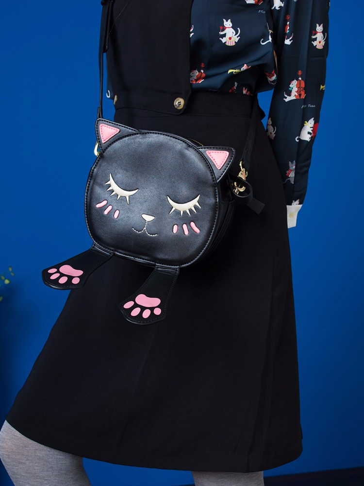 Cat Face Leather Bag