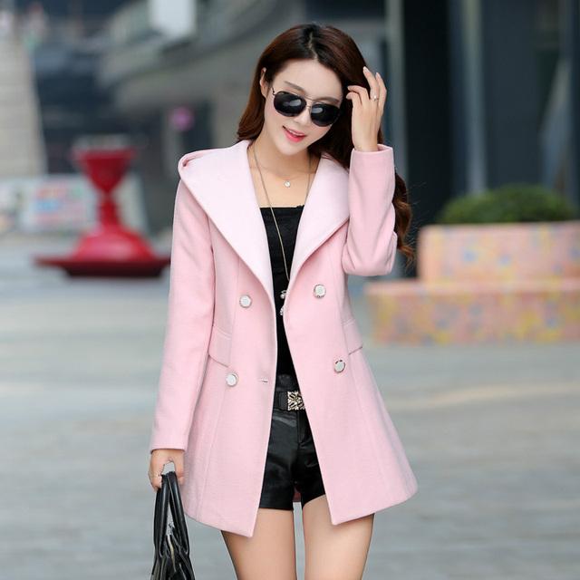 Nuevo 2016 escudo abrigos largos de invierno de las mujeres Mezclas abrigo de lana caliente más señoras del tamaño chaqueta femenina Moda casual mujeres abrigos