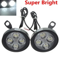 2 PCS 12V Universal Motorcycle Motorbike 4 LED Rearview Mirror Headlight Fog Light