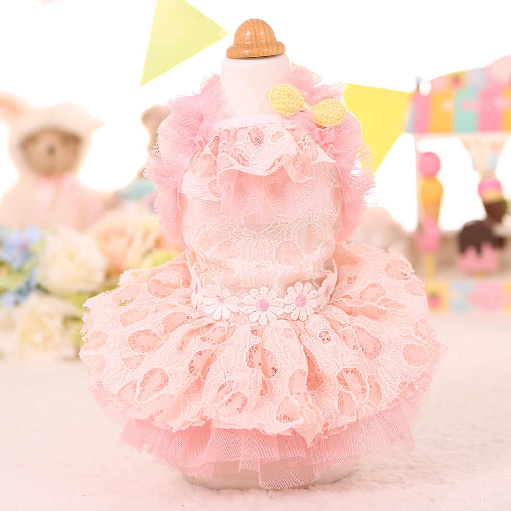 Carino fiore del merletto Dog puppy dress pet dog cat Tutu skirt principessa partito abito da sposa estate piccola camicia cane vestiti per animali da compagnia cat