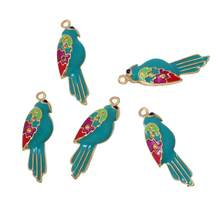 DoreenBeads Zinc alloy Charm Pendants Parrot Gold color Multicolor(Hold ss4 Rhinestone)Black Rhinestone Enamel 30mmx10mm,1 PC(China)