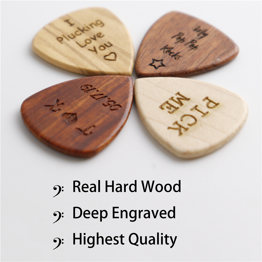 50pcs Wood Guitar Pick Engraved personalized Electric Bass Plectrum Musical Instrument Guitar Parts & Accessories Customized - 6