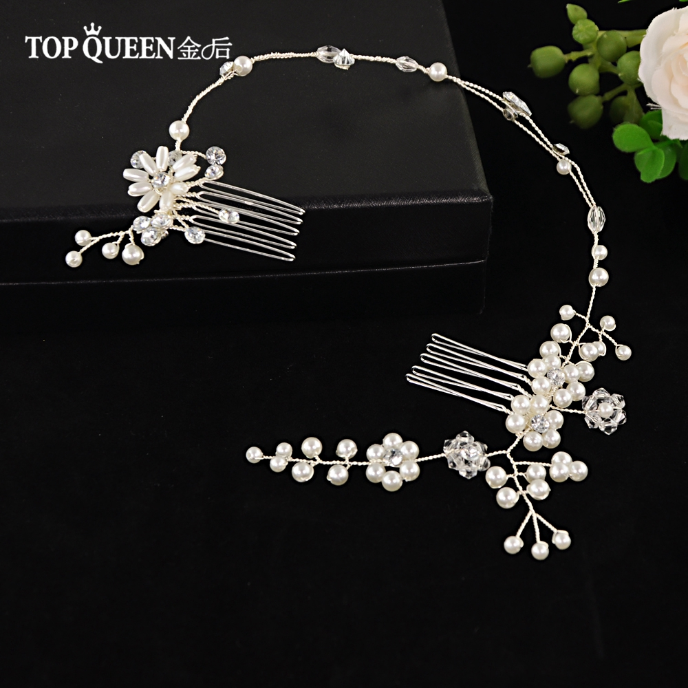 TOPQUEEN HP16 Elegant Wedding Headwear Bridal Clips Hair Vines Pearl Double Hair Comb Hair Jewelry Accessory Fast Shipping