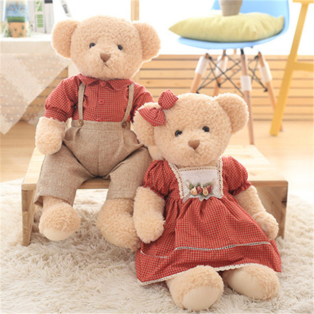 e1717851ab Cute Teddy Bear Plush Toys Couple Bears in Dress Stuffed Dolls Brinquedos  Wedding Valentines Kids Friends Peluche Gift