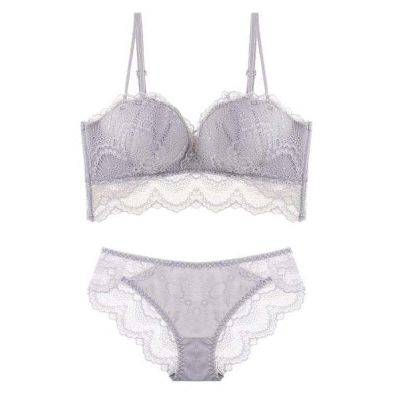 Women   Bra  +  Briefs   Sexy Lingerie Lace Vest Top Solid Bralette   Bra     Set   Underwear G-string Panties