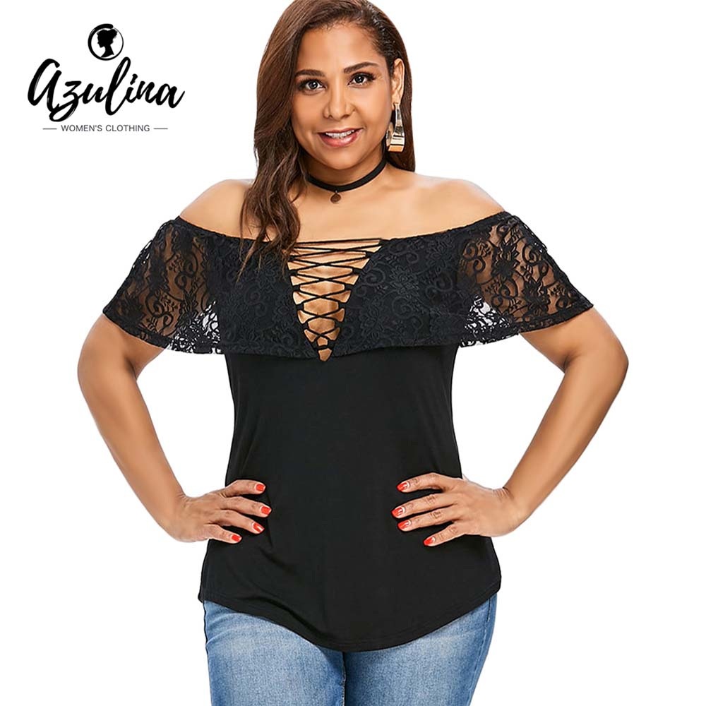 AZULINA Plus Size Lace Up Foldover Off Shoulder T-Shirt Women T Shirt Summer Short Sleeve Lace Causal Shirt Tees Ladies Tops 5XL