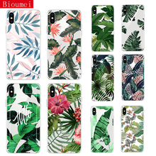 Bioumei Retro Summer Leaf Case For iPhone X XS 7 8 Plus XR XS Max Soft TPU Silicon Color Leave Print Back Cover 68 leaf print iphone case