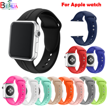 Super high quality Sport Silicone band strap For Apple smart watch 38mm 42mm 40/44mm Soft wristband Watchband iwatch 1 2 3 4