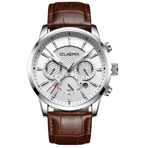 Image 3 - CUENA Luxury Men Watches Leather Strap Stopwatch Luminous Hands Calendar 30M Waterproof Mens Wristwatch Quartz Male Watch Brown