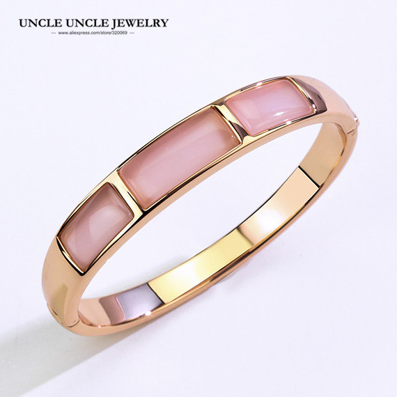 Brand Design Rose Gold Color High Quality Rectangle Opals Retro Trendsetter Lady Bangle Bracelet (White/Pink) WholesaleBrand Design Rose Gold Color High Quality Rectangle Opals Retro Trendsetter Lady Bangle Bracelet (White/Pink) Wholesale
