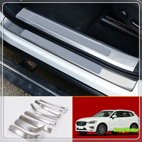 For Volvo XC60 2018 Stainless Inner & Outer Door Sill Scuff Step Guard Cover Decoration Sticker Cover Car styling 8pcs