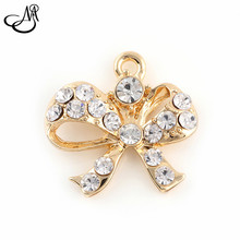 50pcs/lot Gold Alloy Crystal Bowknot charms fit for bracelet DIY dangle charms for pendants jewelry making FA421