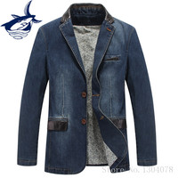 Puls Size 4XL Spring Autumn Homens Blazer Jacket Men Brand Tace Shark Leather Spliced Denim Blazer