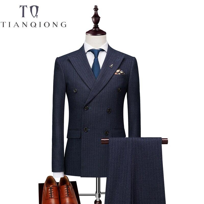 Chaquetas + Pantalones + chalecos para hombre traje de doble botonadura 2018 ajustado traje de rayas verticales hombres lujo vestido de boda Blazer trajes de hombre-in Trajes from Ropa de hombre    3