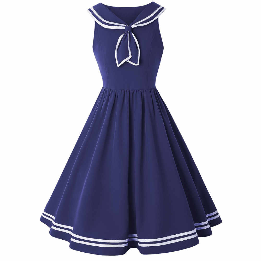 Kenancy Sailor Tanpa Lengan Wanita Rockabilly Ayunan Gaun Retro Pesta Vestidos De Festa Pin Up Vintage 60 S Ayunan gaun
