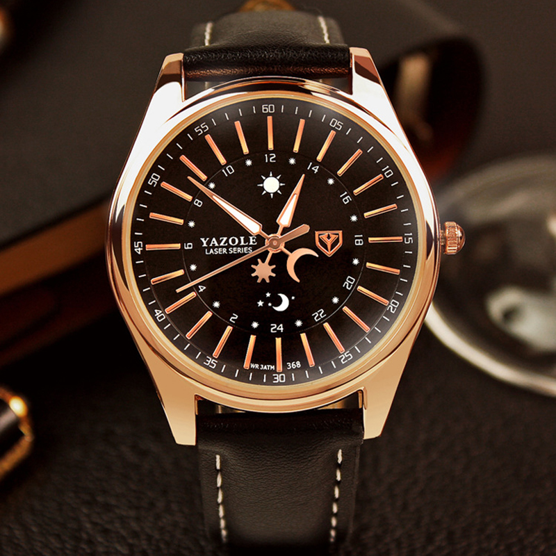 цены  Men Watch Top Brand YAZOLE Luxury Rose Gold Watch Fashion Business Watch Waterproof Luminous Quartz Watches Hour reloj hombre