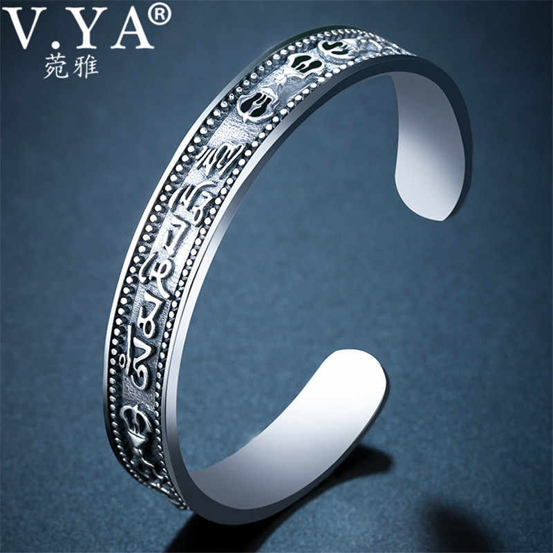 V.YA 925 Sterling Silver Cuff Bracelets Bangles for Women Men Om mani padme hum Open Bangle Thai Silver Jewelry